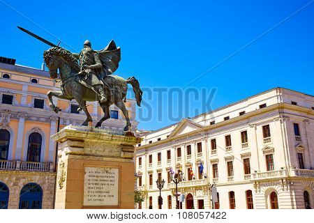 Burgos Cid Campeador statue in Castilla Leon of Spain
