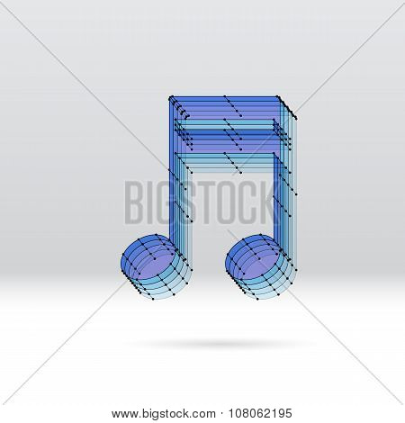 Transparent 3D music note with dotted wire scheme poster