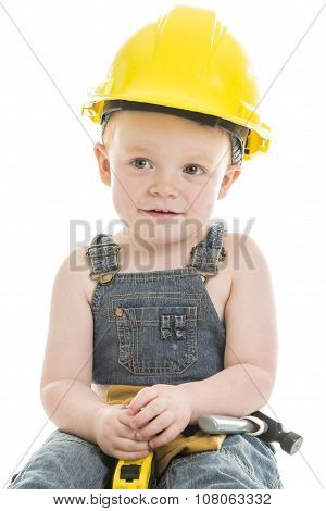carpenter baby boy portrait over a isolated white background