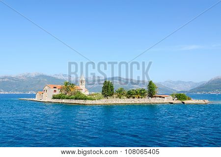 Otok Island (Gospa od Milo) with Jesuit monastery and church of the Blessed Virgin Tivat Bay Montenegro poster