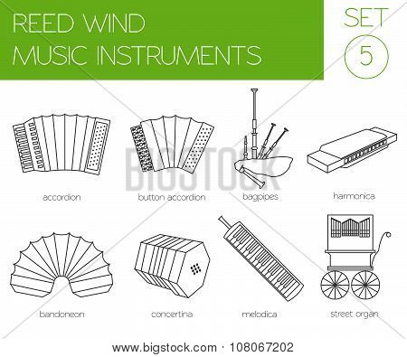 Musical instruments graphic template. Reed wind.