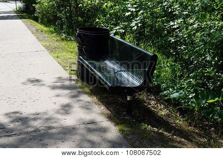 Bench and Garbage Can