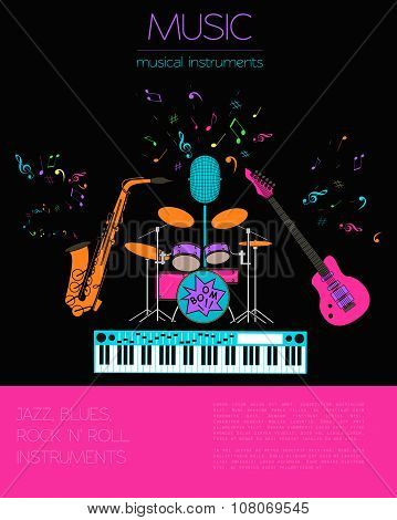 Musical instruments graphic template.Jazz, blues, rock`n`roll band.