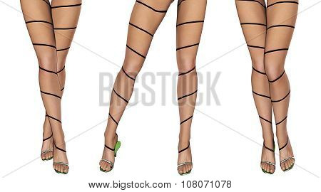 Sexy slim female legs in dark stockings. Conceptual fashion art. Patterned pantyhose. 3D render. poster
