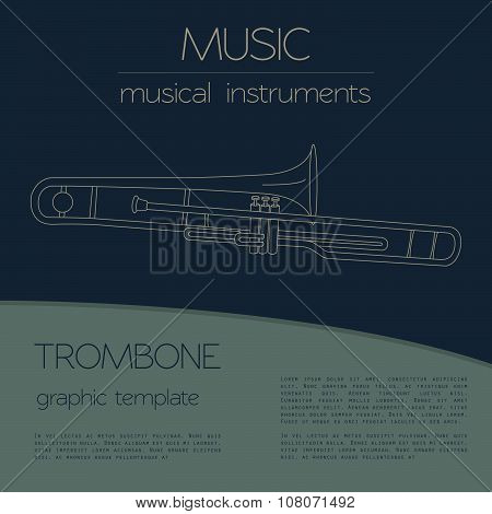 Musical instruments graphic template. Trombone.