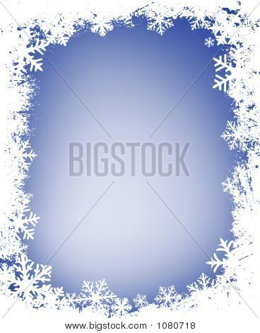 Grunge Snowflakes Frame