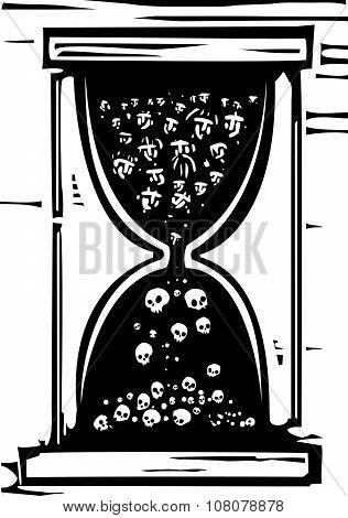 Woodcut style image of an hour glass with people in it becoming skulls poster