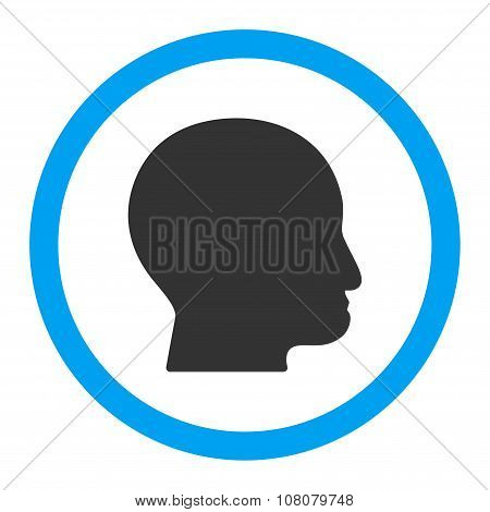Bald Head glyph icon. Style is flat rounded symbol, bright colors, rounded angles, white background. poster