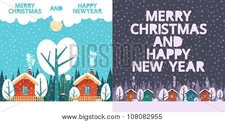 Two holiday cards: love neighbors, Winter in the village, Marry Christmas and Happy New Years