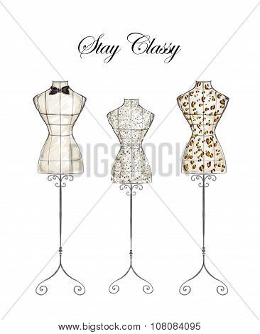 Hand drawn fashion watercolor Illustration - Mannequins on white background