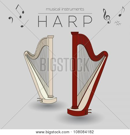 Musical instruments graphic template. Harp.