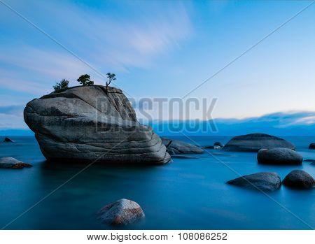 Bonsai Rock, Lake Tahoe after sunset