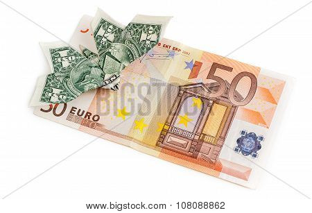 Dollar Origami Butterfly Sits On 50 Euro Banknote