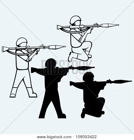 Mercenary shoot with a bazooka. Isolated on blue background. Vector silhouettes poster