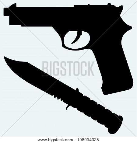 Silhouette of a knife and gun icon
