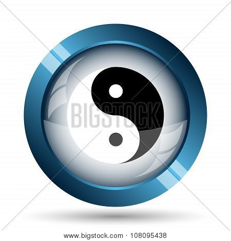 Ying yang icon. Internet button on white background. poster