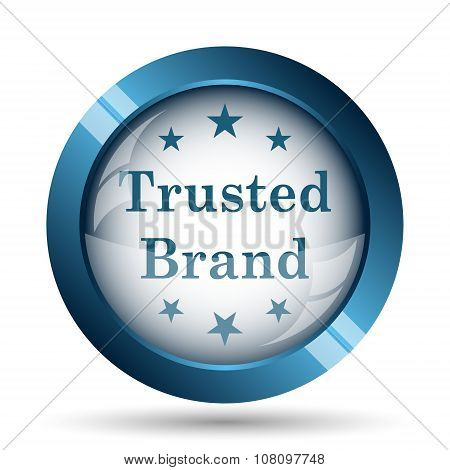 Trusted brand icon. Internet button on white background. poster