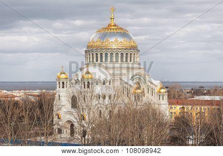 Orthodox naval cathedral in Kronstadt Saint Petersburg poster