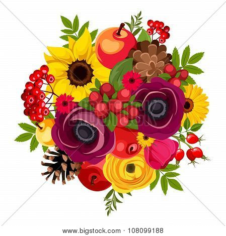 Autumn bouquet with flowers, berries, apples, cones and leaves. Vector illustration.