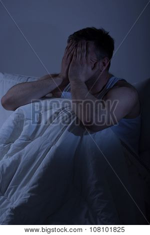 Tired Man With Sleep Problems