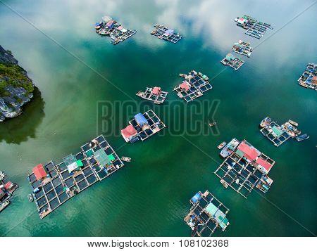 Floating village in Cat Ba islands in Haiphong, Vietnam.