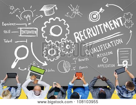 Recruitment Qualification Mission Application Employment Hiring Concept poster