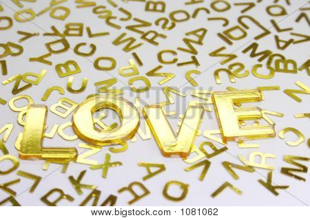 Love Golden Letters Background