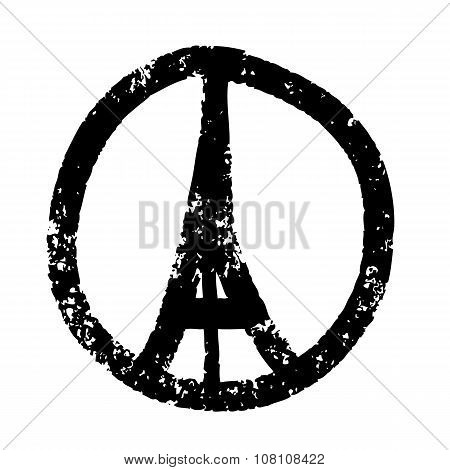 Freehand sketch illustration of pray hands and Eiffel Tower Paris on white background doodle hand drawn Peace for Paris Pray for Paris poster