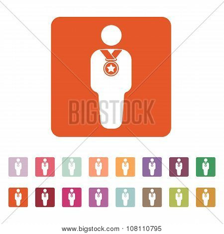 The winner avatar icon. Champion and award, prize, triumph symbol. Flat Vector illustration. Button Set poster