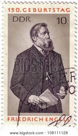 Germany- Circa 1970: Stamp Printed By Germany, Shows Friedrich Engels, Circa 1970.