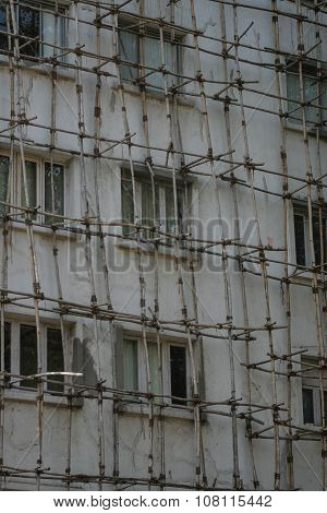 Traditional Wooden Scaffolding In Mumbai Bombay India