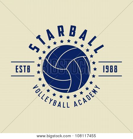Vintage Volleyball Logo, Emblem, Badge, Label And Watermark With Ball In Retro Style.
