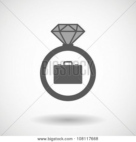 Isolated Vector Ring Icon With  A Breiefcase