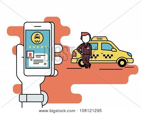 Booking taxi via mobile app
