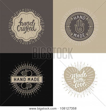 Vector Set Of Design Elements, Badges And Labels In Vintage Style