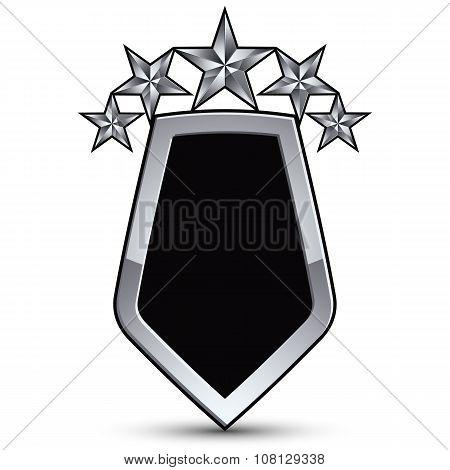 Festive Black Vector Emblem With Outline And Five Silver Decorative Pentagonal Stars, 3D Royal Conce