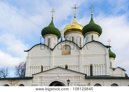 Transfiguration Cathedral in St. Euthymius monastery in Suzdal was built in the 16th century. Golden Ring of Russia Travel poster
