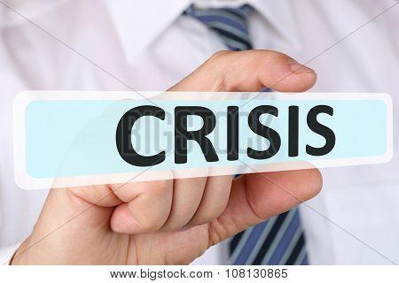 Businessman Business Concept With Crisis Financial Management Depts