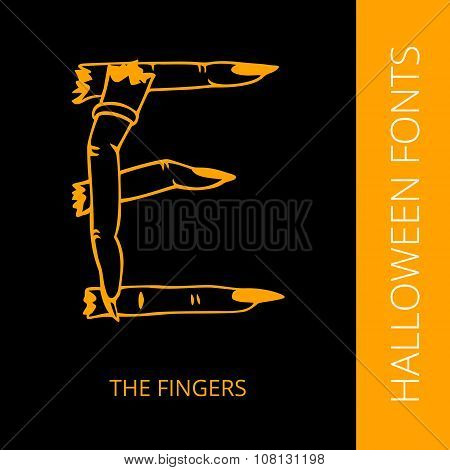 Halloween alphabet letter E consist of the fingers