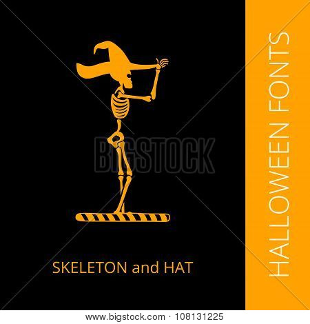 Halloween alphabet letter I consist of skeleton and hat