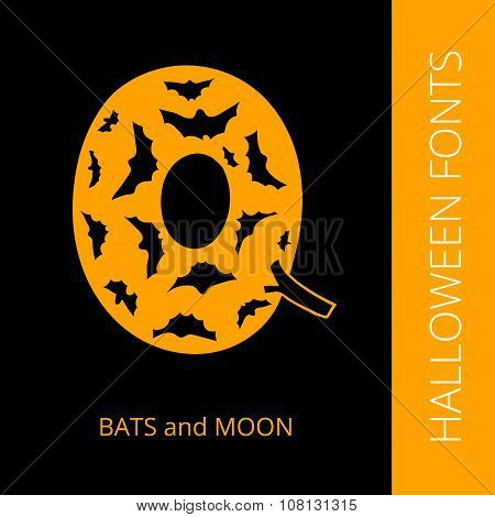 Halloween alphabet letter Q consist of bats and moon