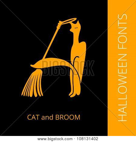 Halloween alphabet letter A consist of cat and broom