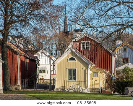 A sunny autumn day in Soderkoping. Soderkoping is a small old historic and idyllic town in Sweden. poster
