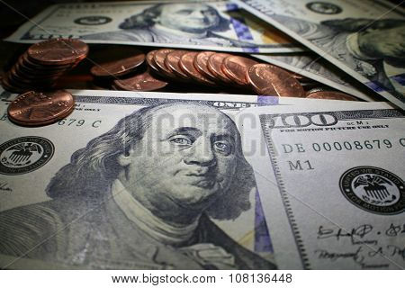 Pennies close up stock photo high quality