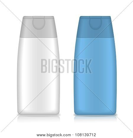 Cosmetic packaging, plastic shampoo or shower gel bottle template for your design. Vector.