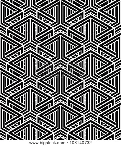 Contrast Black And White Seamless Pattern With Interweave Figures. Continuous Geometric Co