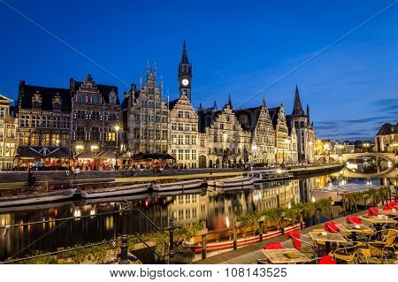 GHENT, BELGIUM - OCTOBER 30, 2013: Leie river in Ghent, Belgium, Europe