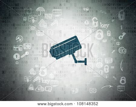 Privacy concept: Painted blue Cctv Camera icon on Digital Paper background with Scheme Of Hand Drawn Security Icons poster