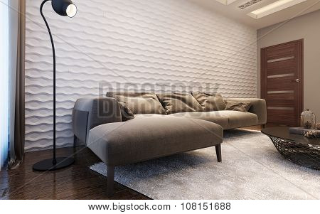 Living room contemporary style. L-shaper sofa near wawe plastered wall. 3d images poster