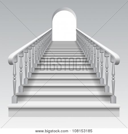 White stair with railings and archway on white background. Vector illustration